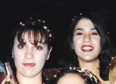 Carla aged about 18, with her sister, Natalie, out on the town!