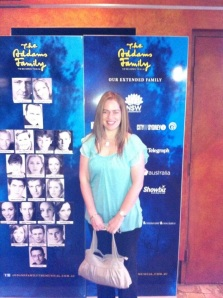 Me at The Addams Family musical in Sydney, after scoring two free tickets via Twitter.